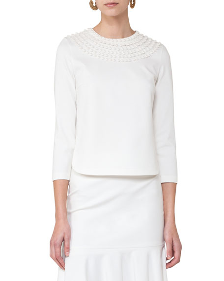 Akris punto Dot-Embroidered Bracelet-Sleeve Top, Cream