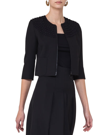 Akris punto Dot-Embroidered Zip-Front Jacket, Black