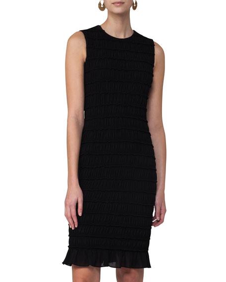Smocked Flounce-Hem Sleeveless Dress, Black