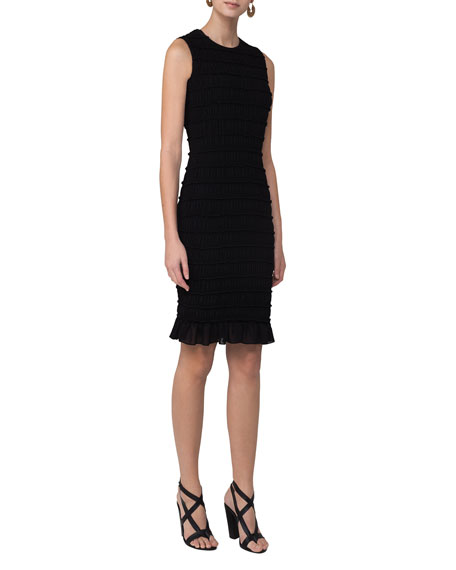 Akris punto Smocked Flounce-Hem Sleeveless Dress, Black
