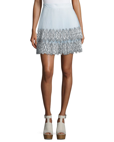 Pleated Tulle Lace Skirt, White/Blue
