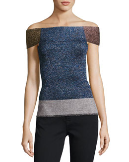 Metallic Knit Off-Shoulder Top, Multi