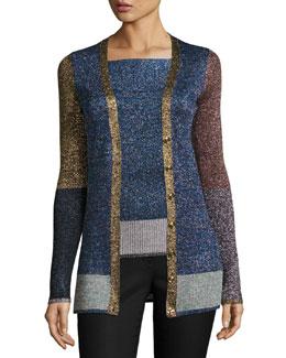 Metallic Colorblock Knit Cardigan, Multi