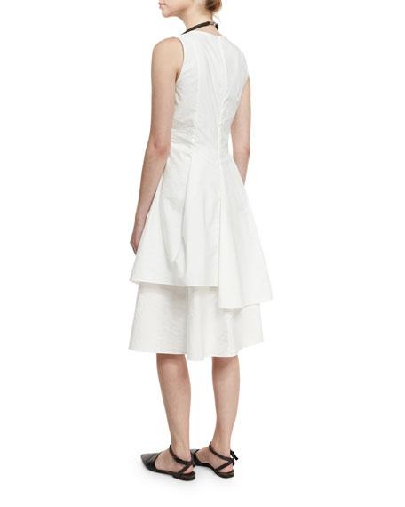 Sleeveless Tiered Poplin Dress