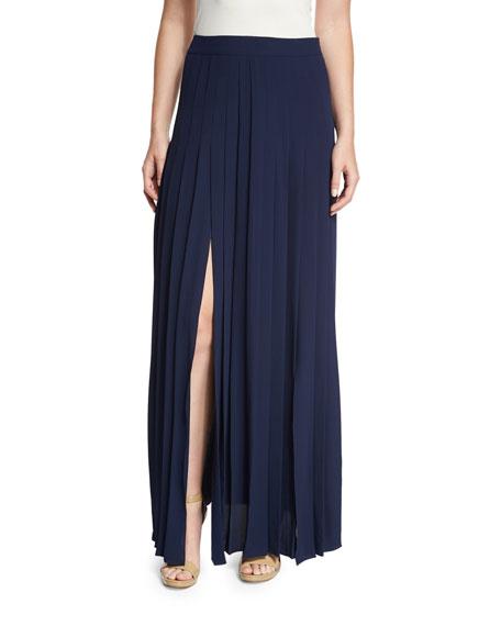Pleated Front-Slit Maxi Skirt, Maritime