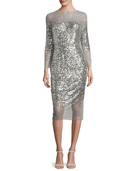 Sequined 3/4-Sleeve Illusion Midi Dress, Silver