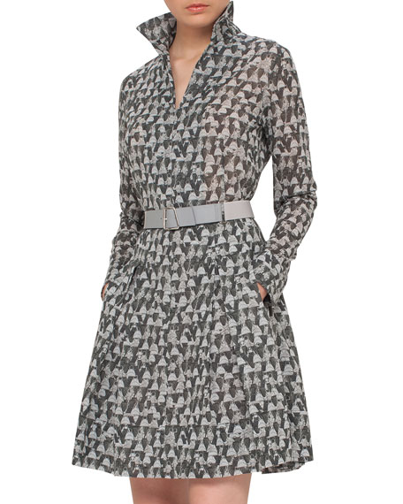 Akris Ai-Print Long-Sleeve Belted A-Line Dress