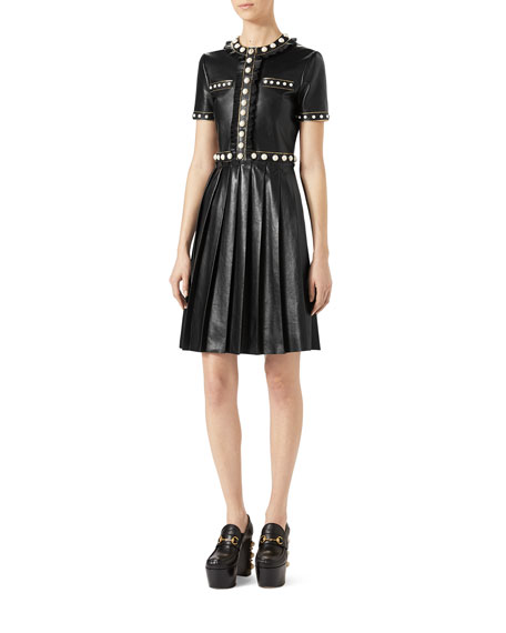 French Plongé Leather Dress with Pearly Studs, Black