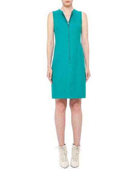 Reversible Sleeveless Zip-Front Sheath Dress