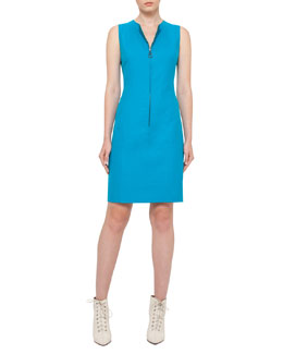 Reversible Sleeveless Zip-Front Sheath Dress