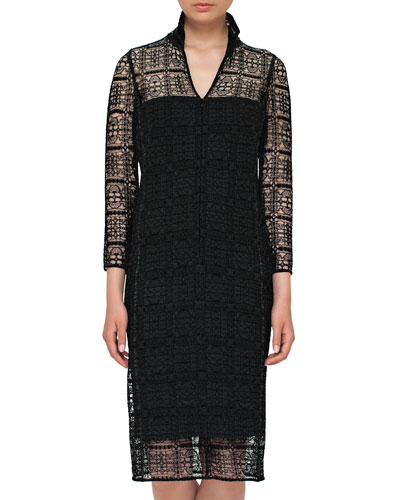 Eve Crocheted Bracelet-Sleeve Shirtdress, Black