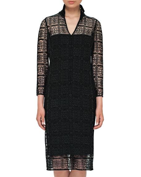 Eve Crocheted Bracelet-Sleeve Shirtdress, Black