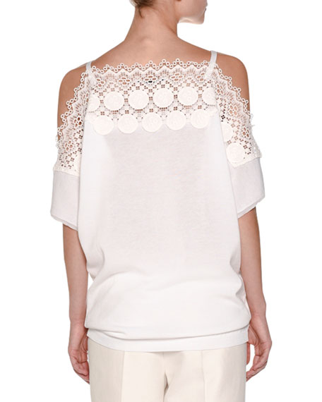 Off-Shoulder Knit Lace Top, White