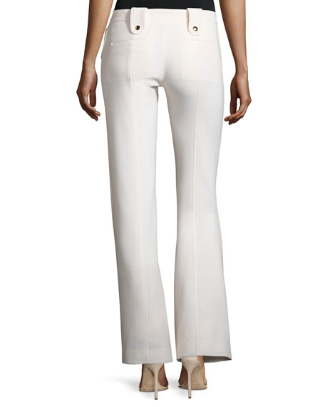 Button-Tab Slim Flared Trousers, White