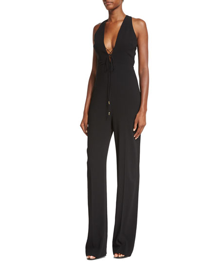 Lace-Up Open-Back Halter Jumpsuit, Black
