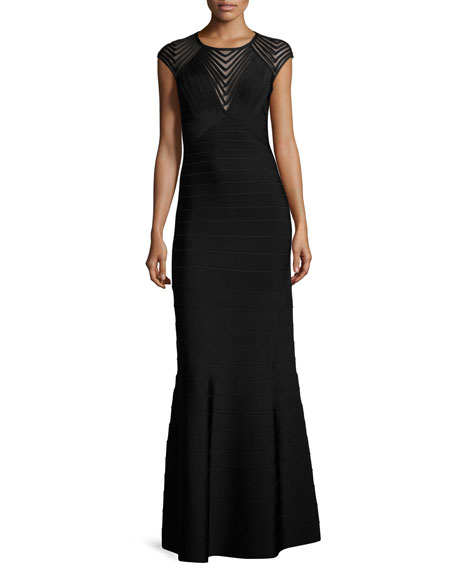 Herve Leger Cap-Sleeve Chevron Mesh Gown, Black