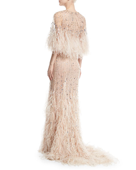 Monique lhuillier beaded ostrich feather gown blush for Wedding dress with ostrich feathers