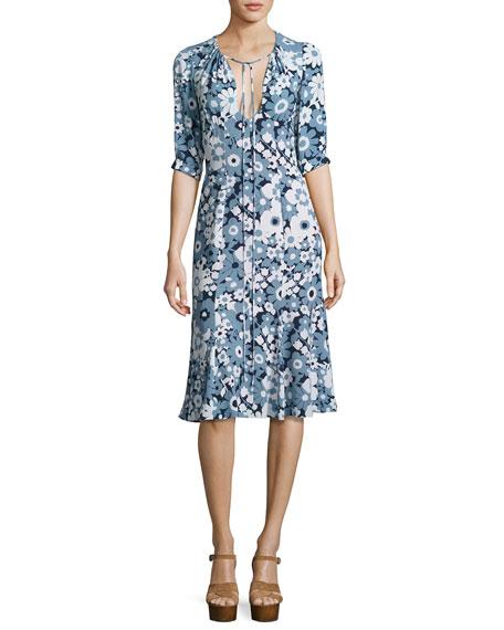 Floral Bias-Cut Keyhole Dress, Blue/Multi