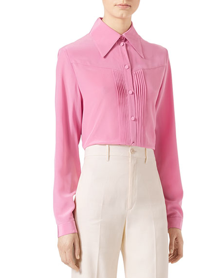 Silk Crepe Blouse, Pink