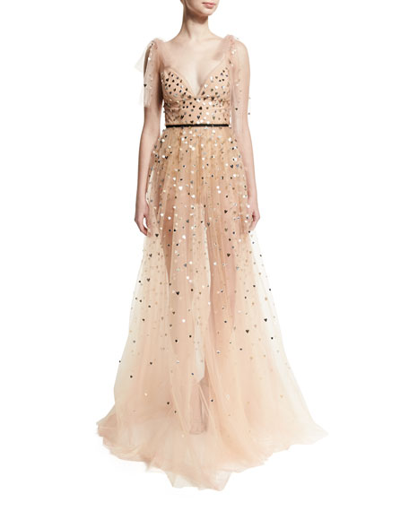 Metallic Heart-Embellished Tulle Gown, Blush
