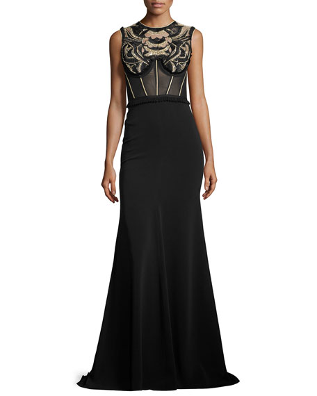 Jenny Packham Embroidered Sleeveless Corset Gown, Black