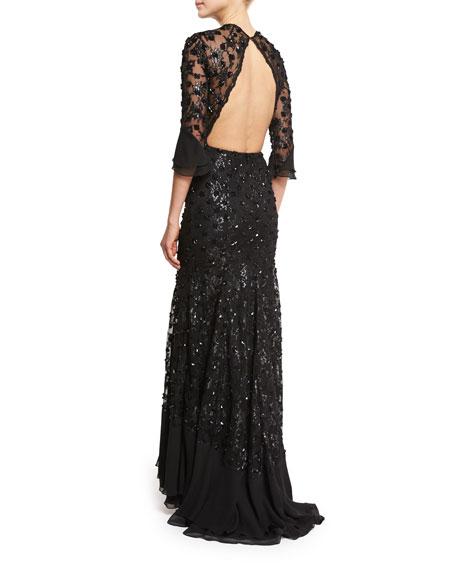 Sequin-Embellished Open-Back Gown, Black