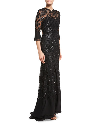 Sequin-Embellished Open-Back Gown, Black