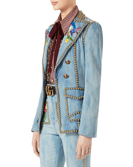 Embroidered Denim Jacket with Studs