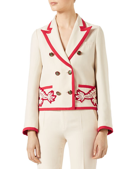 Crepe Double-Breasted Jacket, White
