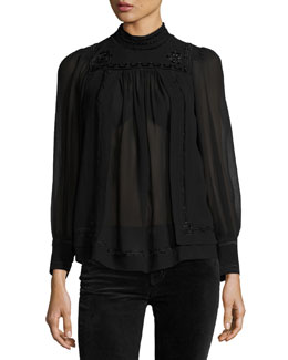 Embroidered Silk Mock-Neck Top, Black
