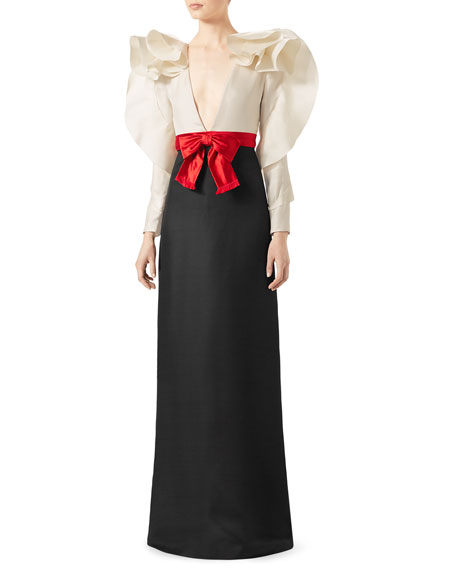 Gucci Long-Sleeve Gown with Contrast Bow, Black