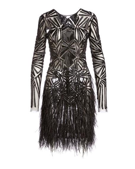 Beaded Long-Sleeve Feather-Skirt Dress, Black