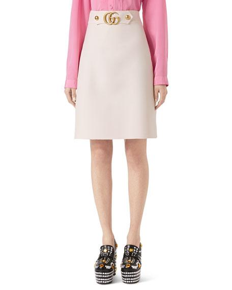 Wool-Silk A-Line Mini Skirt, White