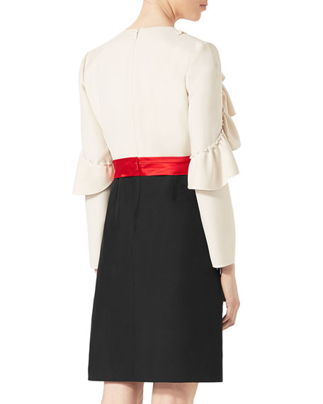 Silk-Wool Dress with Sculpted Sleeves, White/Black