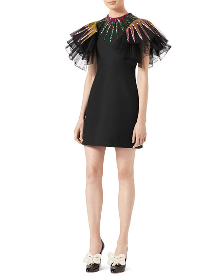 Sequin-Embroidered Tulle Dress, Black