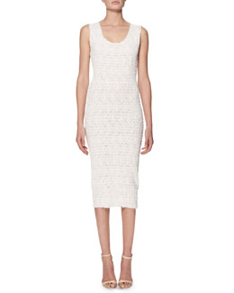Scoop-Neck Smocked Sheath Dress, White