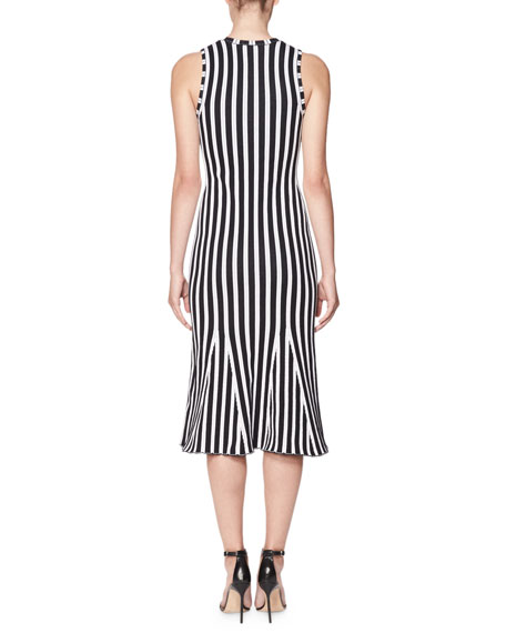 Wide-Stripe Intarsia Kick-Flare Dress