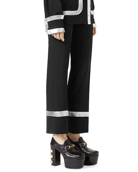 Silk Crepe de Chine Pajama Pants, Black
