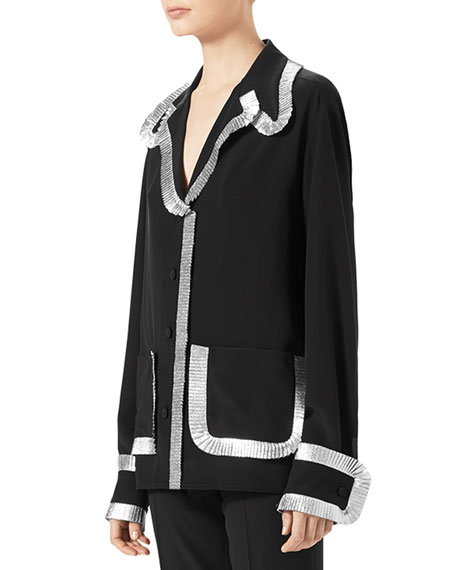 Silk Crepe de Chine Pajama Top, Black