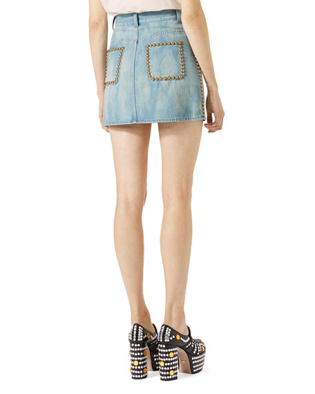 High-Waist Denim Skirt, Blue