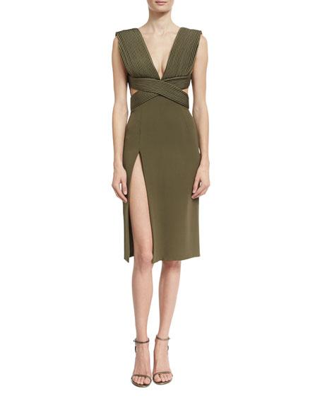 Piped-Bodice V-Neck Dress, Olive