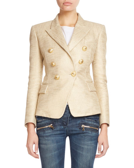 Balmain Classic Double-Breasted Tweed Blazer, Gold