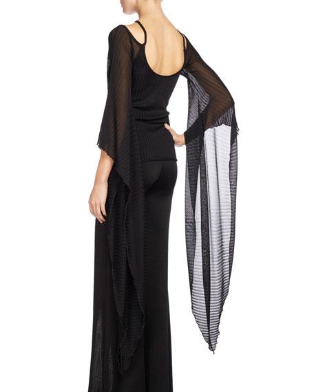 Knit Top w/Sheer Batwing Sleeves, Black