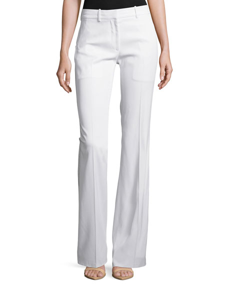 Calvin Klein Collection Stretch Flare-Leg Pants, White