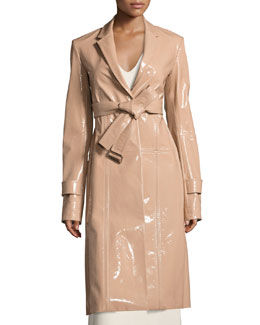 Patent Leather Belted Trench Coat, Beige