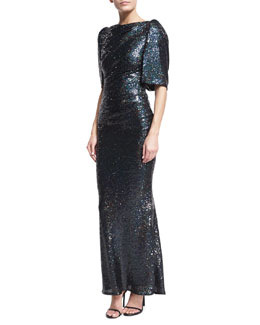 Lobata Cape-Sleeve Sequined Gown, Navy