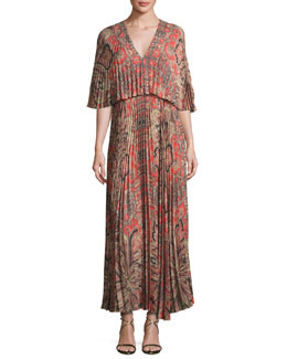 Paisley-Print Light Crepe Maxi Dress, Red Pattern