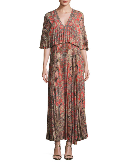 Paisley-Print Light Crepe Maxi Dress, Red Pattern