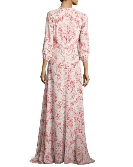 Toile de Jouy 3/4-Sleeve Maxi Dress, Red/White