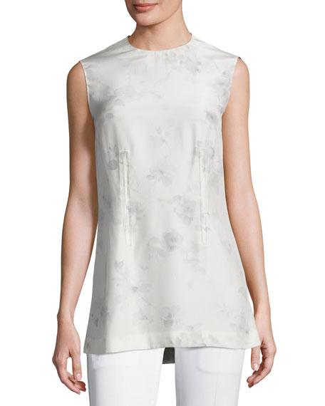 Flower-Print Silk Shell Top, Gray